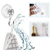 VIS'V Suction Cup Hooks, Removable Clear Heavy Duty Vacuum Suction Hooks with Cleaning Cloth Window Kitchen Bathroom Wall Hooks Hanger for Towel Loofah Sponge Cloth Key Christmas Wreath - 2 Packs