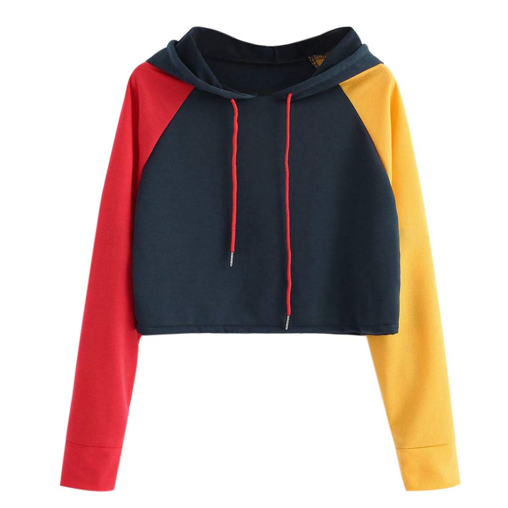 Hoodie for Teen Girls Pullover Women Long Sleeve Shirts Patchwork Sweatshirts Casual Jumper Blouse Color Block Tops