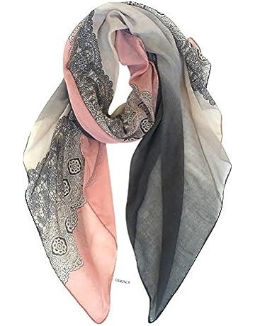58bc546d751 GERINLY Lightweight Scarf Fashion Lace Design Women Hijab Head Wrap Scarf  (Darkgrey Pink)