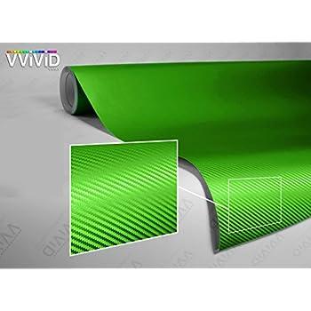 VViViD Lime Green 3D Carbon Fiber 5 Feet x 1 Foot Vinyl Wrap Roll with Air Release Technology
