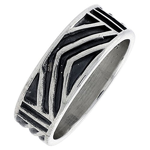 Sterling Silver Native American Hopi Pattern Chevron Ring Southwestern Design Handmade 1/4 inch wide Hand Mad, size 6