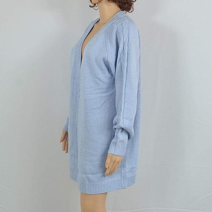 Amazon.com: JOFOW Women Sweater Cardigan,Solid Weave Grain Long Knit Coat Loose Casual Pink Blue Gray Open Front Knit Outwear (Freesize,Blue): Clothing