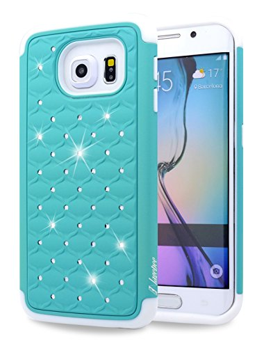 Galaxy S6 Edge Case, NageBee - Samsung Galaxy S6 Edge Heavy Duty Hybrid Protective Armor Case Soft Silicone Cover with Studded Rhinestone Bling Design Hard Case For Samsung Galaxy S6 Edge (Dimaond Mint)