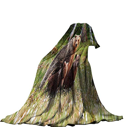 Mother Grizzly Bear - QINYAN-Home Digital Printing Blanket (80