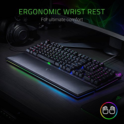 51dzadXfsxL - Razer Huntsman Elite: Opto-Mechanical Switch - Multi-Functional Digital Dial & Media Keys - Leatherette Wrist Rest - 4-Side Underglow - Gaming Keyboard