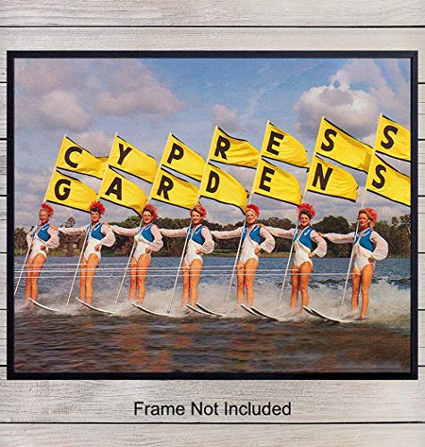 Vintage Waterski Wall Art Print - Unique Home Decor Poster for Lake House - Gift for Cypress Gardens and Water Ski Fans - 8x10 Photo Unframed from Yellowbird Art & Design