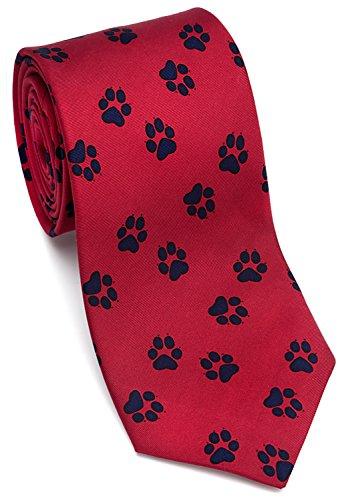Paw Print Tie - Josh Bach Men's Paw Print - Dog or Cat, Silk Necktie Red, Made in USA