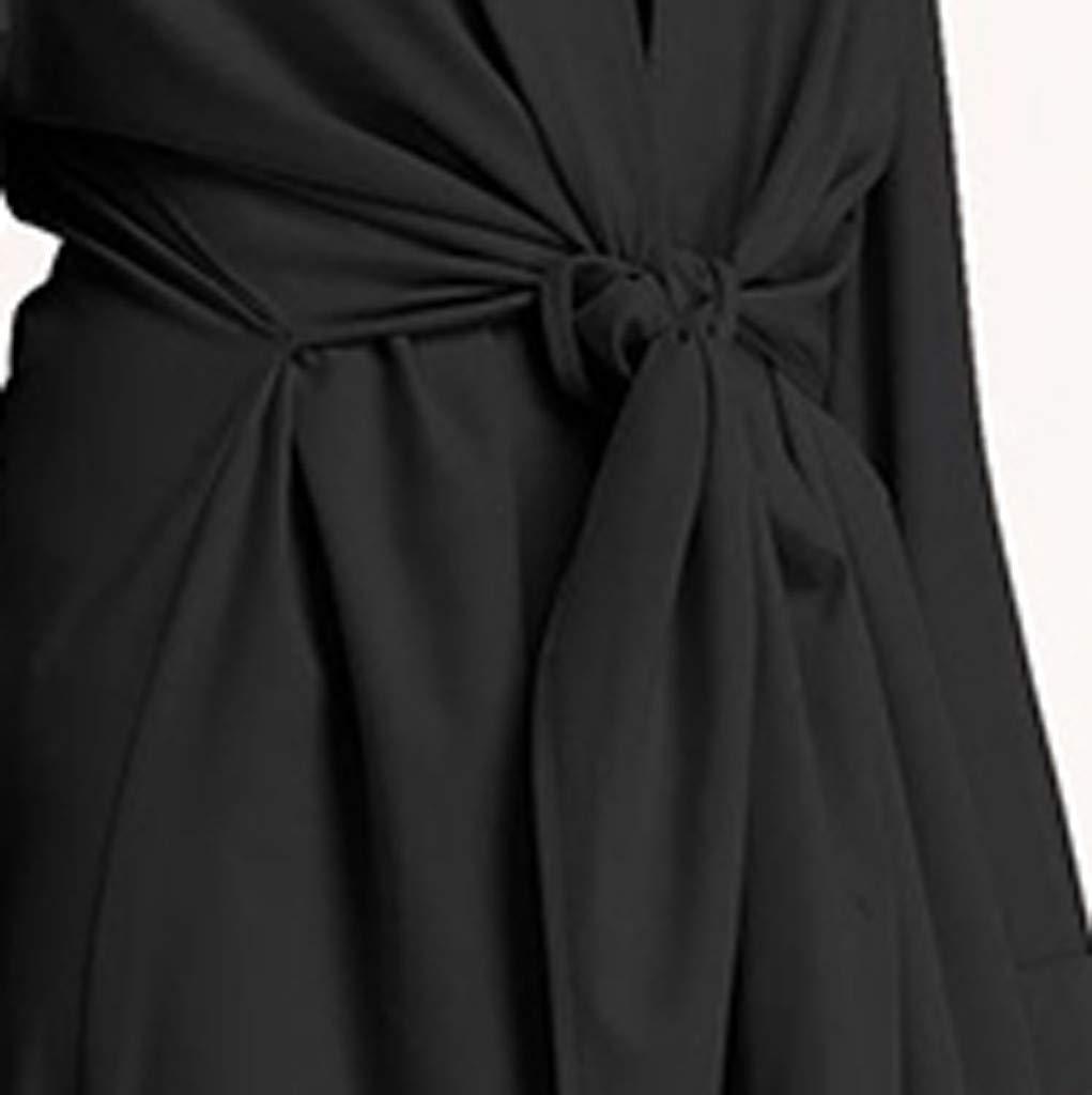 Muslim Dress Fashion Muslim Kaftan Women Soild Color Fake Two-Piece Sleeve Long Dress Middle East Long Maxi Dress Black by BingYELH Muslim (Image #3)