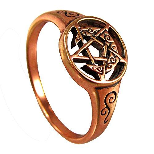 Copper Crescent Moon Pentacle Pentagram Ring (Size 5 12)