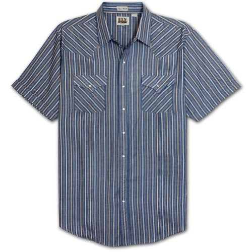 - Ely Cattleman Tall Mens Short Sleeve Stripe Snap Western Shirt (ASSORTED 4X-T)