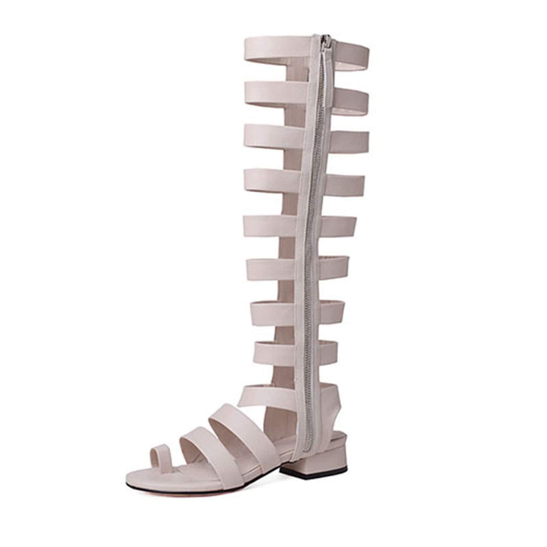 les chaussures hommes / femmes romaines du vrai cuir cuir cuir faible chunky à haut talon - pointe ring du genou de haute qualité et bon marché de sandales superbe facture vb2243 2 commerc e de gr os 70968e