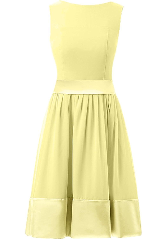 Sunvary Simple Satin A-Line Bateau Neckline Sleeveless Fomal Dresses Bridesmaid Dresses