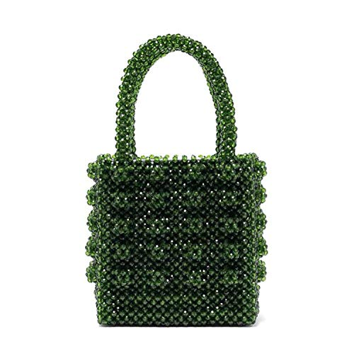 (pearls bag Acrylic crystal beaded box totes bag women party handbag summer vintage luxury clear,green)