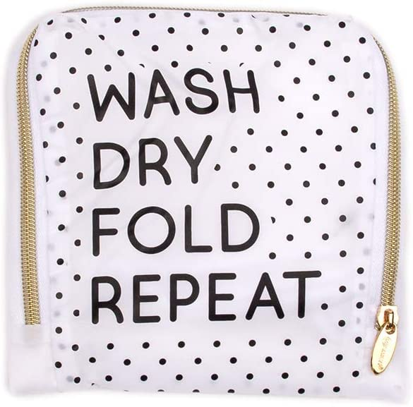 MIAMICA Travel Laundry Bag, White Black Dot, Wash, Dry, Fold, Repeat