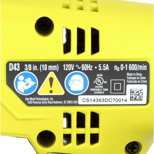 Ryobi ZRD43K 5.5-Amp 3/8 in. Variable Speed Drill