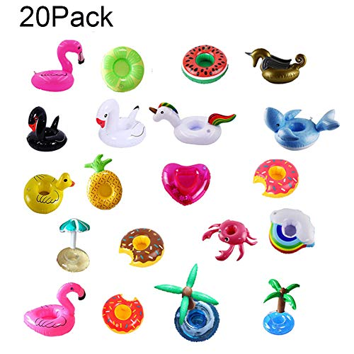 Running Pet 20 Pack Inflatable Drink Holder, Floats Inflatable Cup Coasters for Summer Pool Party and Kids Fun Bath Toys Shark&Mermaid ,Fruit Flamingo(Random Style