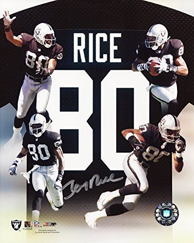 (AUTOGRAPHED Jerry Rice #80 Oakland Raiders (NFL Wide Receiver) Rare Vintage Picture Collage Signed 8X10 Inch Glossy Football Photo with COA )