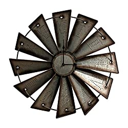 Gianna's Home Rustic Farmhouse Metal Windmill Wall Clock (18.5)