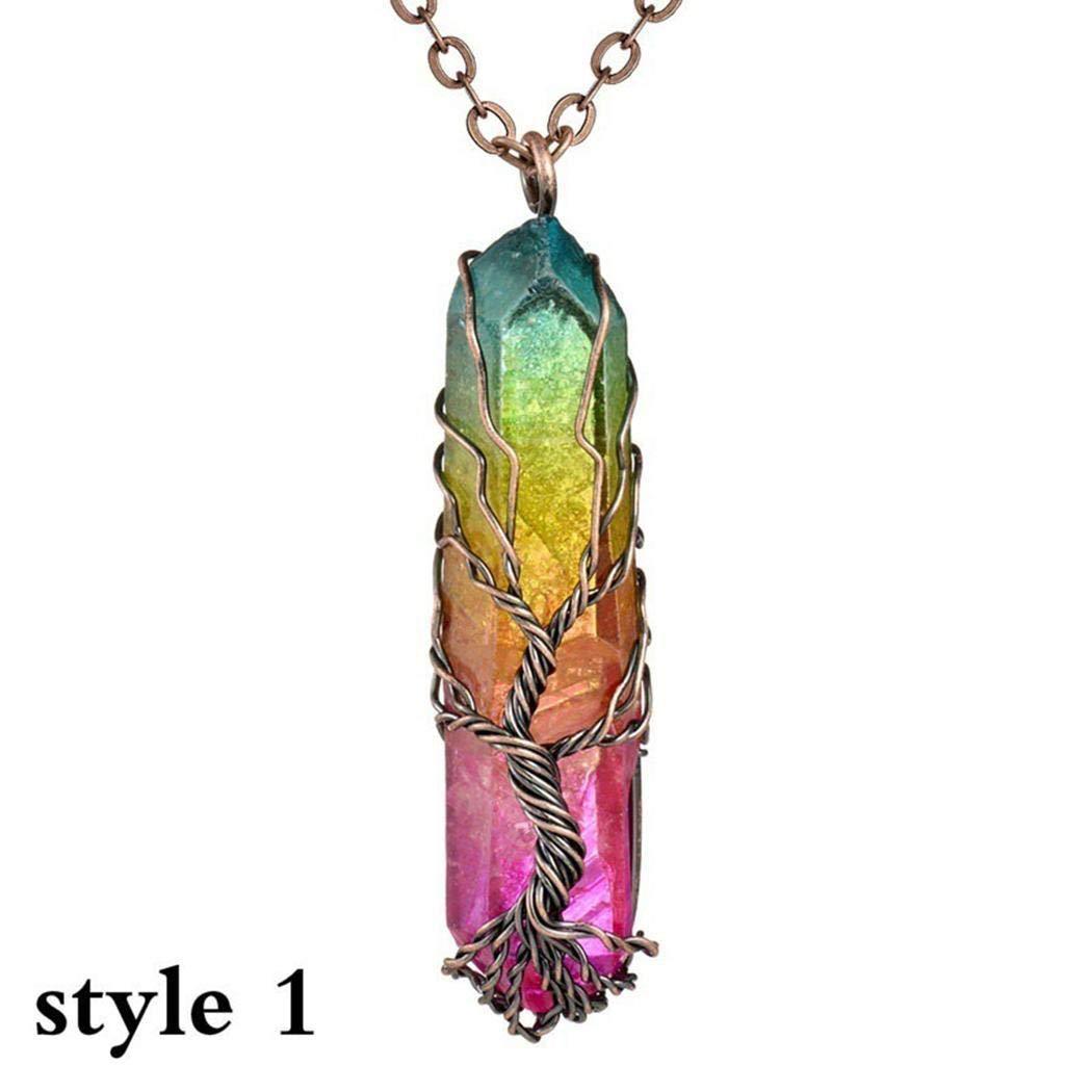 Sioneit Women New Natural Crystal Hexagon Column Pendant Necklace Belts