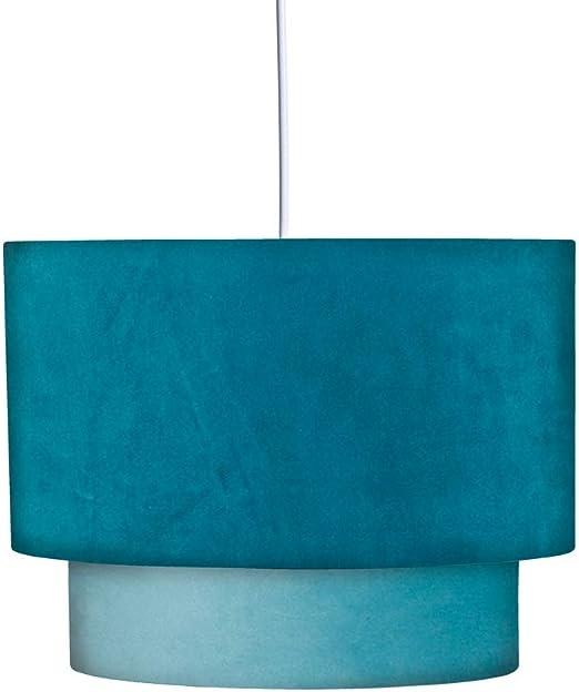 Lámpara de techo contemporánea con pantalla doble de terciopelo azul ø 35 cm - LOLAhome: Amazon.es: Iluminación