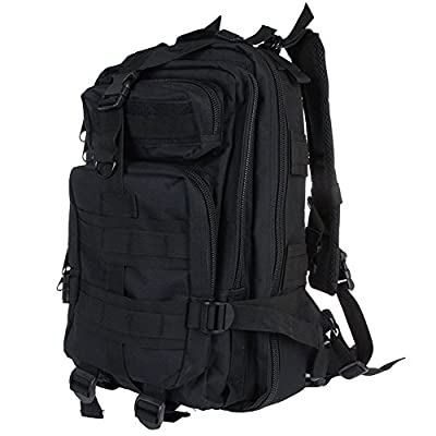 UGE 30L 3P Comfortable Waterproof Assault Pack Tactical Backpack 600D Nylon Wide Shoulder Straps Unisex Rucksack Military Pack Outdoor Hiking Trekking Tactical Camping Camouflage Backpack Bag (Black)