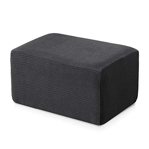 Subrtex Stretch Storage Ottoman Slipcover Protector Spandex Elastic Rectangle Footstool Sofa Slip Cover for Foot Rest Stool Furniture in Living Room (Oversize, Gray),