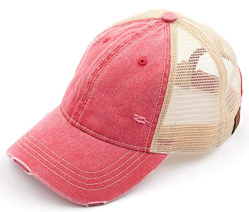 (H-6140-912-42 Distressed Trucker Hat - Washed Red/Beige Mesh)