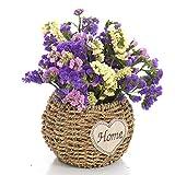 IVLWE 5'' Home Decorative Basket Handmade Natural Seagrass Basket Metal Bracket Outdoor Flower Planters Garden Pots Indoor Flower Arrangement Basket (Plant not included) - S