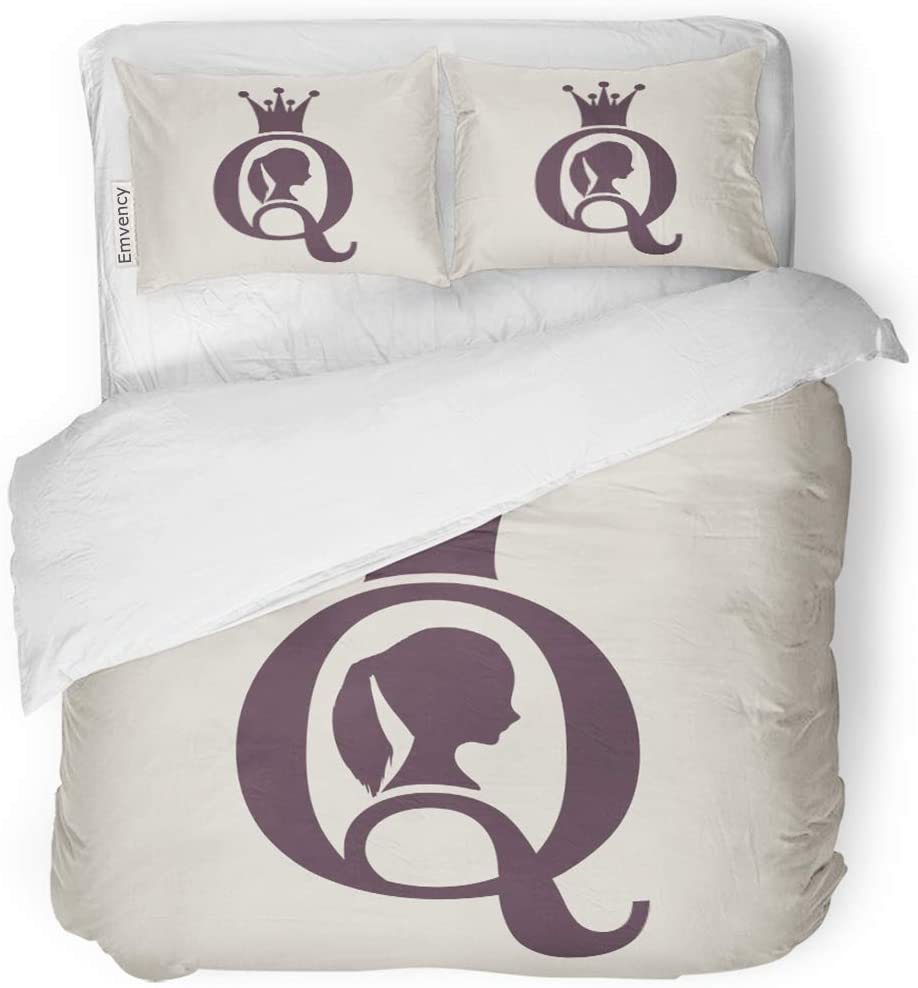 SanChic Duvet Cover Set Vintage Queen Silhouette Medieval Profile Elegant of Female Decorative Bedding Set with 2 Pillow Cases King Size