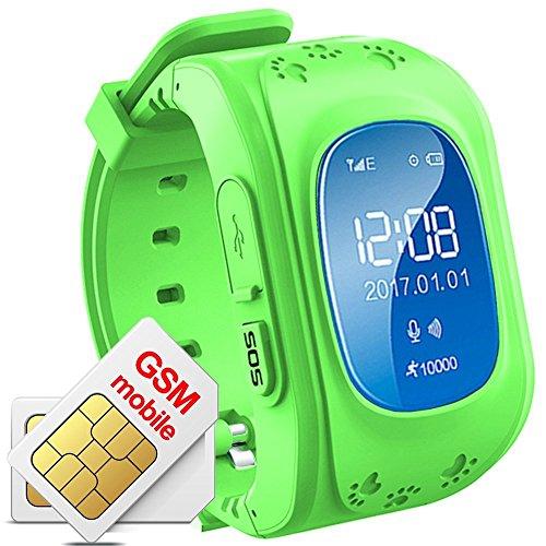 Niños Reloj De Pulsera Smartwatch GPS Tracker Perdidos Finder Niños GPS hijo Locator menor Haz Tiempo real Seguimiento de ubicación Niños Smart Reloj Q50?De, color verde