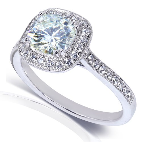 Forever Brilliant Cushion cut Moissanite and Halo Diamond Engagement Ring 1 1