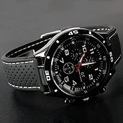 DDLBiz Men's Racer Military Pilot Aviator Army Silicone Sports Watch (A) (White)