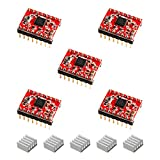 HONG111 A4988 Stepper Motor Driver Module with Heatsink, StepStick Stepper Motor Driver for 3D Printer Reprap Controller Ramps 1.4(Pack of 5, Red)