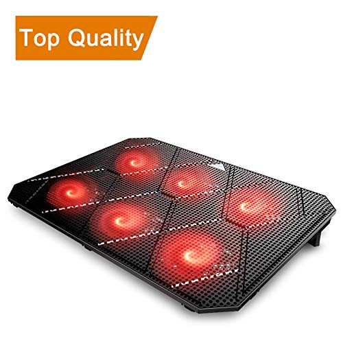 Pccooler Laptop Cooling Pad, Powerful Slim Quiet Laptop Cooler for Gaming Laptop - 6 Red LED Fans - Dual USB 2.0 Ports - Portable Height Adjustable Laptop Stand, Fits 12-17 ()
