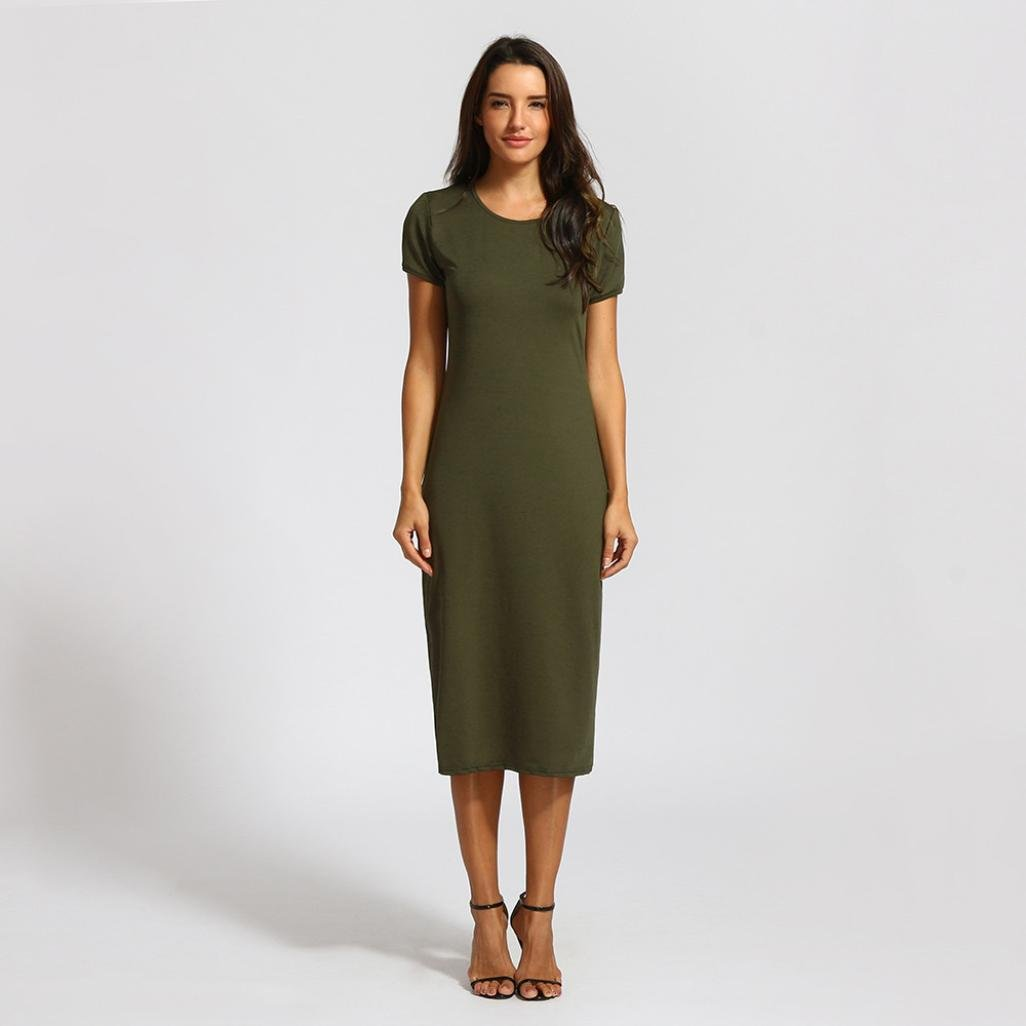 a90ef3181a Women's Solid Dress, E-Scenery Causal Short Sleeve Length O-Neck Mid-Calf  Straight Dresses