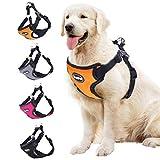 BINGPET No Pull Dog Harness Adjustable Soft Vest Reflective for Outdoor Walking, Orange Medium