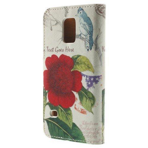 caja del teléfono celular del caso del tirón de Samsung Galaxy S5 dueño de Mini / SM-G800 cráneo LIBRO SOPORTE flores rosa