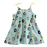 Toddler Infant Baby Girls Cartoon Floral Sleeveless Strap Princess Dress Outfits Green