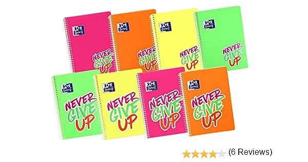 Oxford Never Give Up - Pack de 5 cuadernos, 4 x 4 cm, color neón: Amazon.es: Oficina y papelería