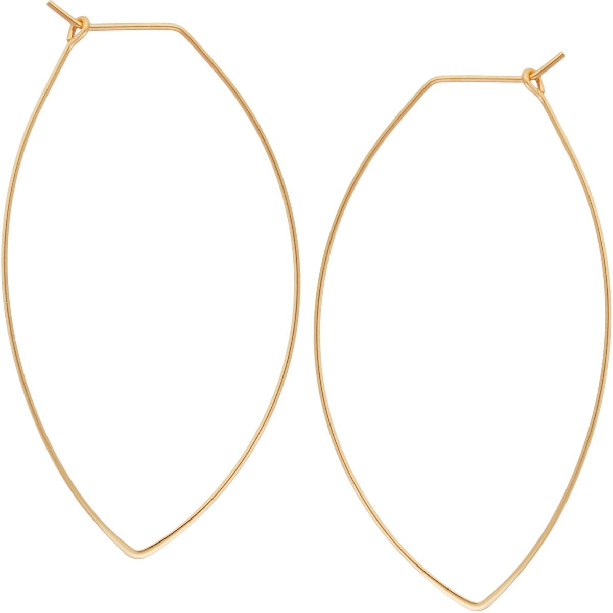 Marquise Threader Big Hoop Earrings - Lightweight Oval Leaf Statement Drop Dangles, Marquise 24K Yellow, Gold-Electroplated, Hypoallergenic, by Humble Chic NY