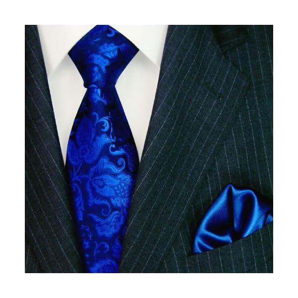 LORENZO-CANA-Luxury-Italian-Pure-Silk-Woven-Tie-Hanky-Set-Blue-Paisley-3605501