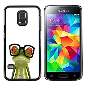 iKiki Tech / Estuche rígido - Nerd Frog Glasses Sad White Green - Samsung Galaxy S5 Mini, SM-G800, NOT S5 REGULAR!