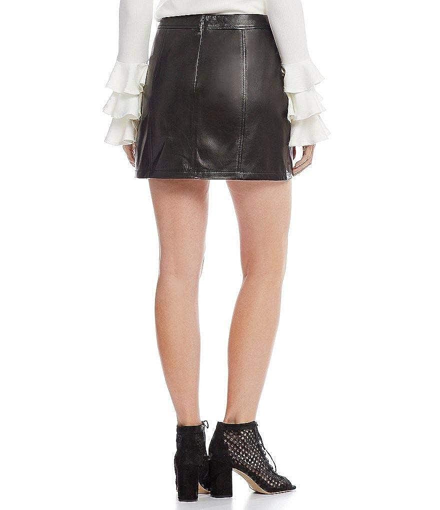 803f9f910aaf Gianni Bini Rachel Genuine Leather Mini Skirt Black at Amazon Women's  Clothing store: