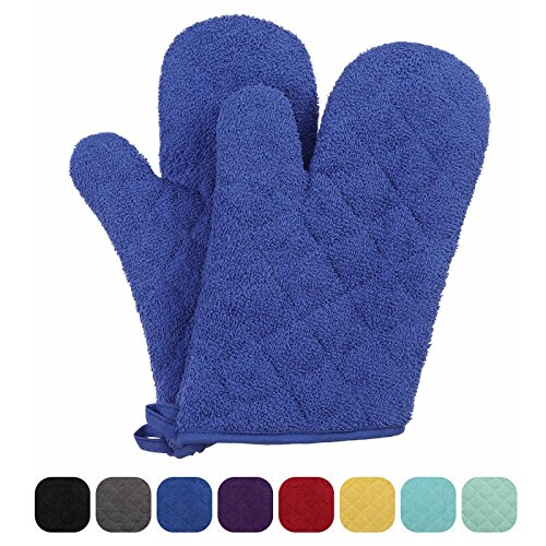 VEEYOO 100% Cotton Oven Mitts Terry Heat Resistant Oven Gloves for Kitchen Set of 2, 7 x 12'' Royal Blue by VEEYOO