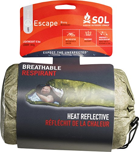 S.O.L Survive Outdoors Longer Escape Series 70 Percent Heat Reflective Durable Lightweight Emergency Bivvy, Green