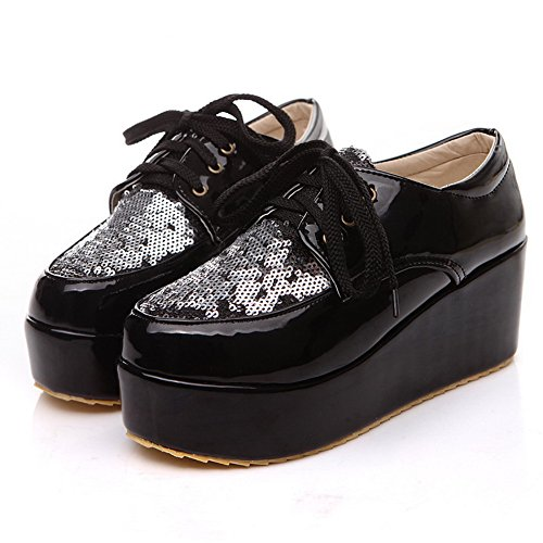 BalaMasa da donna Lace Up Kitten Heels Solid pompe scarpe, Nero (Black), 38