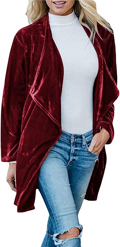 FANEW Women/'s Long Sleeve Open Front Velvet Coat Fashion Ladies Cardigan Jacket with Pockets