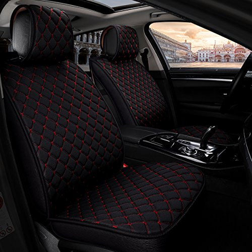 INCH EMPIRE Anti Slip Car Seat Cover Full Set Cloth Universal Fit Front and Back Breathable Anti-fouling Fabric Cushion-Adjustable Bench for 95% Types of 5 seats Cars(Black with Red Stitch Grid)