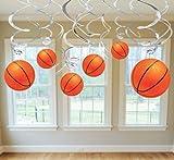 Basketball Hanging Swirl Decorations 12 Pack