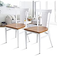 Dporticus Solid Wood Dining Chairs with Metal legs, Commercial and Residential Use - Set of 2 (White)